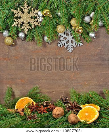 Star Anise, Nuts, Cones, Dried Oranges And Spruse Branch