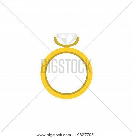 Engagement Vector Element Can Be Used For Ring, Wedding, Engagement Design Concept.  Isolated Ring Flat Icon.