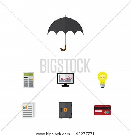 Flat Icon Finance Set Of Document, Calculate, Bubl And Other Vector Objects