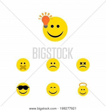 Flat Icon Emoji Set Of Happy, Cross-Eyed Face, Have An Good Opinion And Other Vector Objects