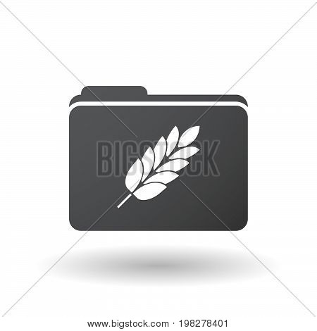 Isolated Folder With  A Wheat Plant Icon