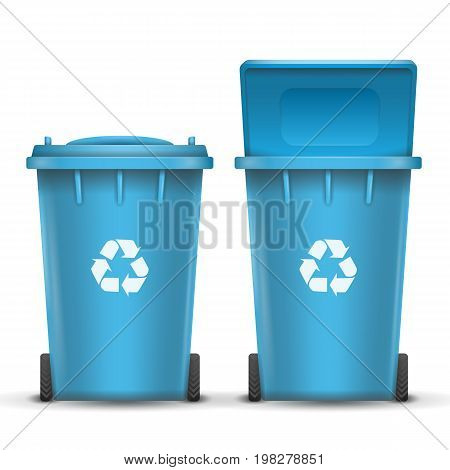 Realistic Containers For Recycling Waste Sorting Vector.