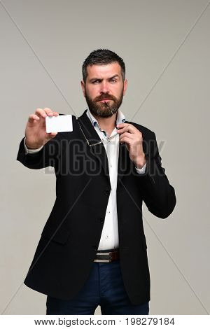 Guy With Blank Business Card. Success And Business