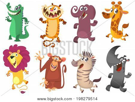 Cartoon tropical African animal set. Wild cartoon cute animals collections vector. Big set of cartoon jungle animals flat vector illustration. Crocodile alligator tiger elephant giraffe lion monkey chimpanzee zebra and rhino