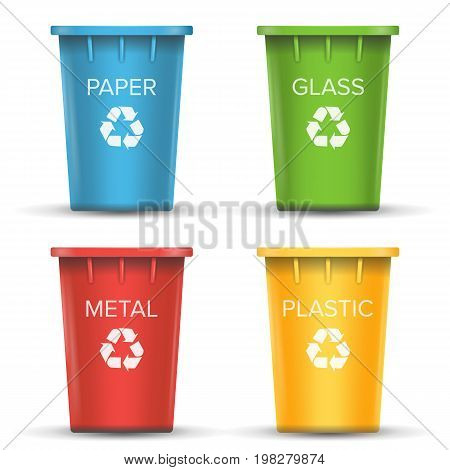 Recycling Buckets For Trash Vector. Set Of Red, Green, Blue, Yellow, White Buckets. For Paper, Glass, Metal, Plastic Sorting Isolated Illustration