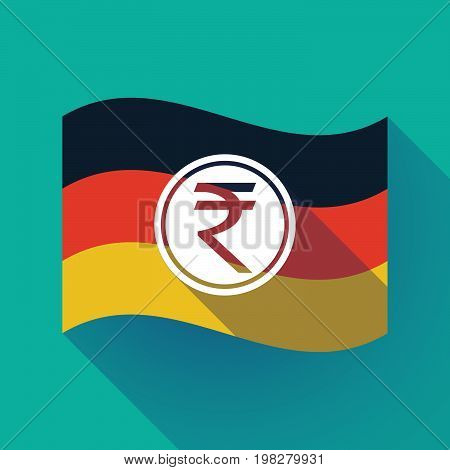 Long Shadow Germany Flag With  A Rupee Coin Icon