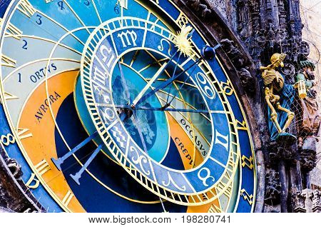 Old medieval astronomical clock (Orloj) in Prague on the Old Town Square.