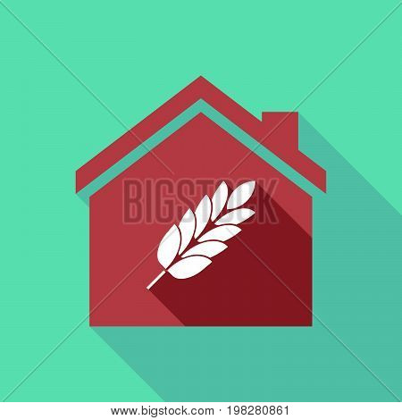 Long Shadow House With  A Wheat Plant Icon