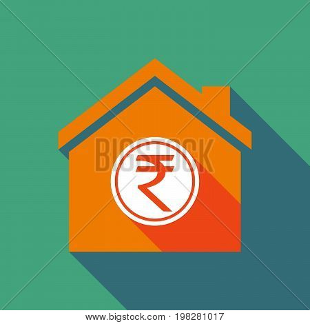 Long Shadow House With  A Rupee Coin Icon