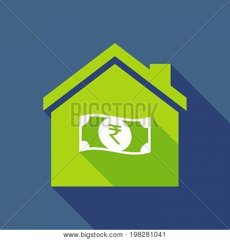 Long Shadow House With  A Rupee Bank Note Icon