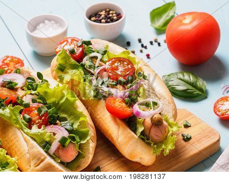 Close up view of homemade hotdogs with chicken sausages, fresh vegetables on blue wooden background. Hot-dogs with tomatoes, onion, basil, letucce and spices.