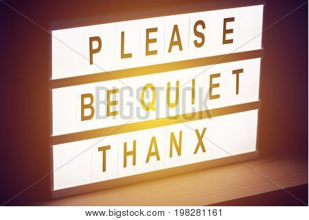 Please be quiet thanx vintage illuminated message sign in radio or tv studio with live audience