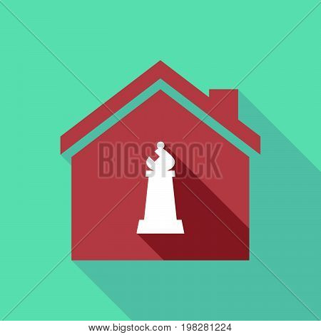 Long Shadow House With A Bishop    Chess Figure