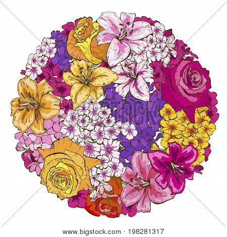 A circle of colorfull flowers. Roses lilies pansies phloxes Vector