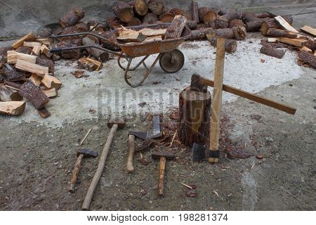 Tools for chopping trees. Device for chopping trees. Preparing firewood. Chopping wood for fuel