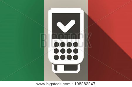 Long Shadow Italy Flag With  A Dataphone Icon