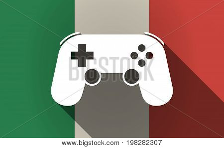 Long Shadow Italy Flag With  A Game Pad