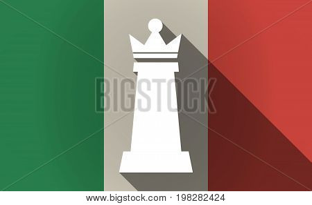 Long Shadow Italy Flag With A  Queen   Chess Figure