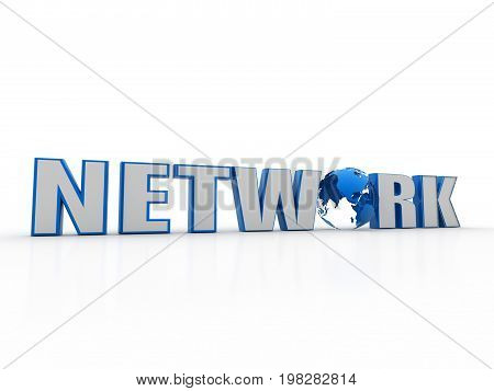 internet network word with globe 3d render