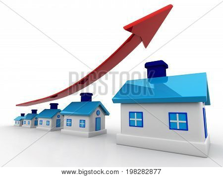 3d houses and arrow graph. Growth in real estate, real estate concept