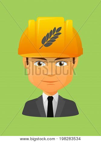 Worker Avatar With  A Wheat Plant Icon