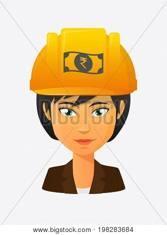 Worker Avatar With  A Rupee Bank Note Icon