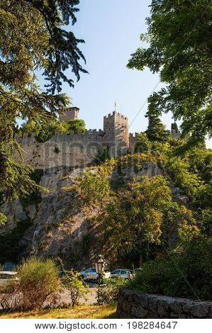 It's one of the three towers located in the small european country of San Marino on the three peaks of Monte Titano. Vertical frame