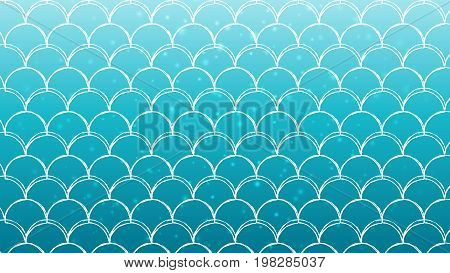 Mermaid scale on trendy gradient background. Horizontal backdrop with mermaid scale ornament. Bright color transitions. Fish tail banner and invitation. Underwater sea pattern. Turquoise, blue colors.