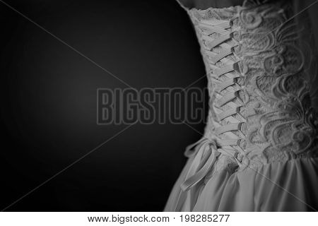 Wedding dress close-up dress, wedding, bride, corset, detail, romantic poster