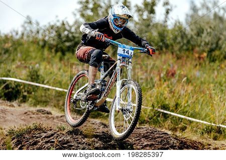 Magnitogorsk Russia - July 22 2017: man rider mountain biking in stone trail during National championship downhill