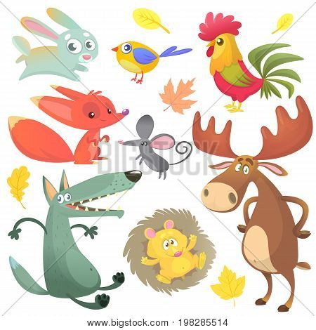 Cartoon forest animal characters. Wild cartoon cute animals collections vector. Big set of cartoon forest animals flat vector illustration. Bunny rabbit rooster fox mouse wolf hedgehog moose elk and blue yellow bird