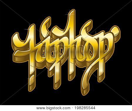 Hip-Hop word in graffiti style in metal golden colors. Gold text vector isolated on black background.