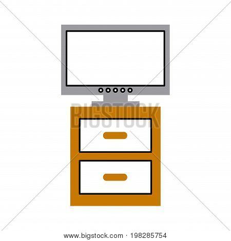 nightstand with tv plasma isolated icon vector illustration design