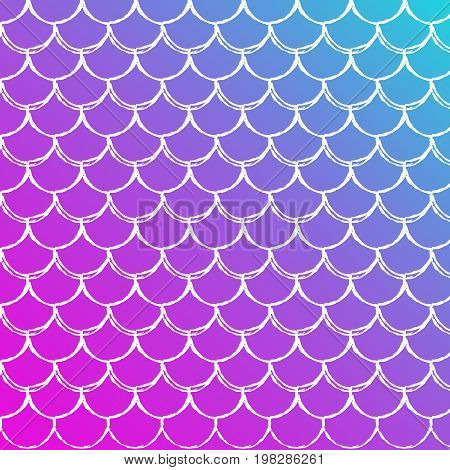 Fish skin on trendy gradient background. Square backdrop with fish skin ornament. Bright color transitions. Mermaid tail banner and invitation. Underwater and sea pattern. Blue, purple, pink colors.