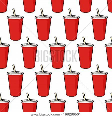 Pattern with disposable red soda cup with straw for poster, menus, brochure, web fast food business. Cartoon style  on white background
