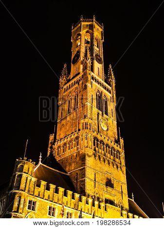 Belfort, or Belfry Tower, at Grote Markt square in Bruges, Belgium.