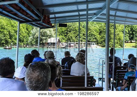 Ferry in the Plitvice Lakes - JUNE 29: Ferry on the Plitvice Lakes close-up. June 29, 2017. Croatia. Plitvice Lakes.