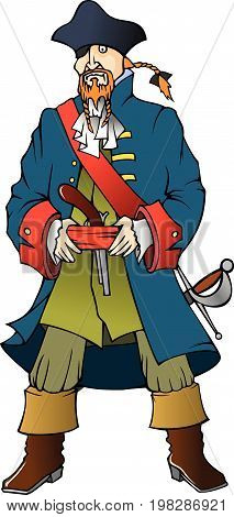 Pirates' captain armed with pistol and sabre, vector illustration