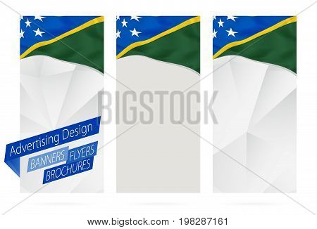 Design Of Banners, Flyers, Brochures With Flag Of Solomon Islands.