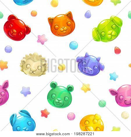 Seamless pattern with cute gummy jelly animals on white background. Childish vector texture.