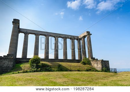 view of National Monument of Scotland Calton Hill Edinburgh Scotland