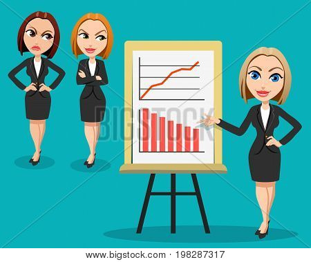 Business woman giving a presentation.Two women listen to the presentation with envy and anger. Different emotions. Office workers. Business Conference concept. Flat design.