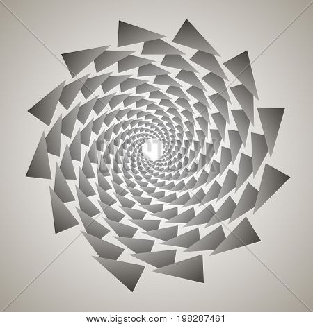 Swirl, Vortex Background. Rotating Spiral. Pattern Of A Whirling Of Hearts. Triangle, Gradient, Silh