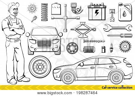 Car service collection. Auto mechanic cars and Car mechanics tools and accessories. Vector illustration.