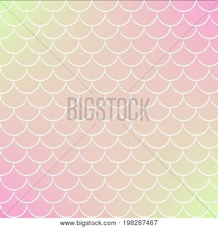 Fish skin on trendy gradient background. Square backdrop with fish skin ornament. Bright color transitions. Mermaid tail banner and invitation. Underwater and sea pattern. Warm peachy colors.