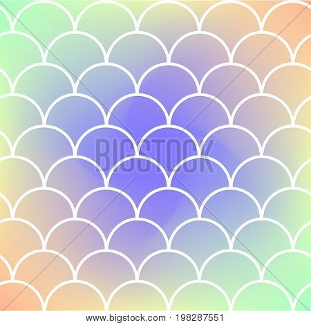 Mermaid scale on trendy gradient background. Square backdrop with mermaid scale ornament. Bright color transitions. Fish tail banner and invitation. Underwater and sea pattern. Rainbow colors.