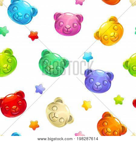 Seamless pattern with cute gummy bears and stars on white background. Childish vector texture.