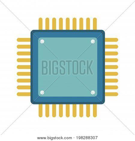 computer microchip circuit hardware element icon vector illustration