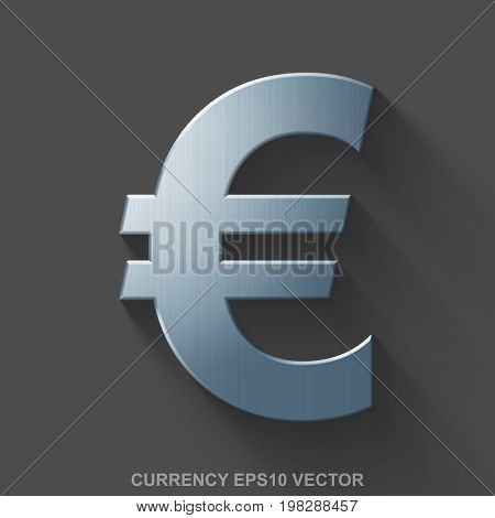 Flat metallic banking 3D icon. Polished Steel Euro icon with transparent shadow on Gray background. EPS 10, vector illustration.