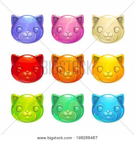 Cute jelly cat faces. Vector colorful gummy candy icons.